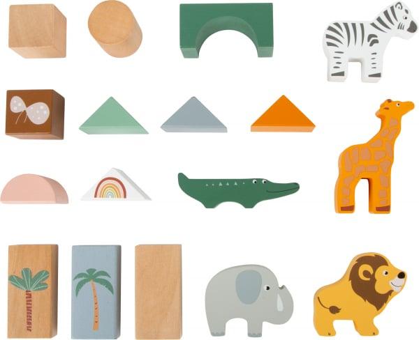 Cuburi de construit din lemn in culori pastelate si design Safari 1