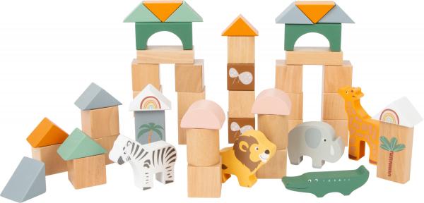 Cuburi de construit din lemn in culori pastelate si design Safari 0