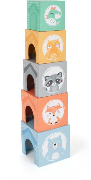 In Padure - Cuburi mari cu 5 figurine in culori pastel 3