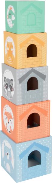 In Padure - Cuburi mari cu 5 figurine in culori pastel 1