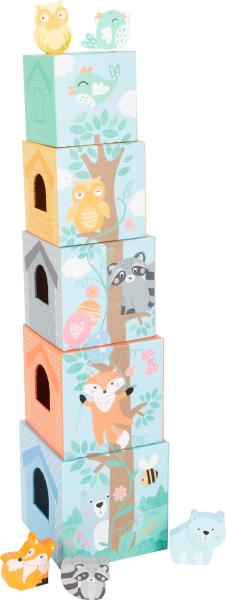 In Padure - Cuburi mari cu 5 figurine in culori pastel 0