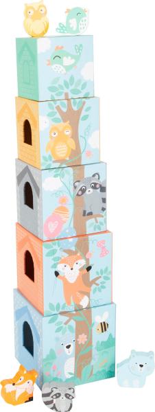 In Padure - Cuburi mari cu 5 figurine in culori pastel 9