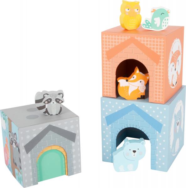 In Padure - Cuburi mari cu 5 figurine in culori pastel 2