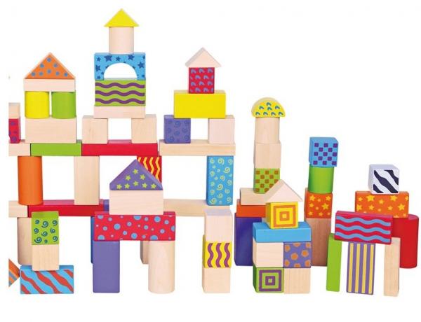 Galetusa cu 100 de cuburi de lemn, multicolore 0