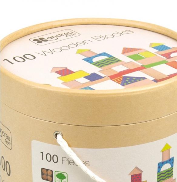 Galetusa cu 100 de cuburi de lemn, multicolore 1