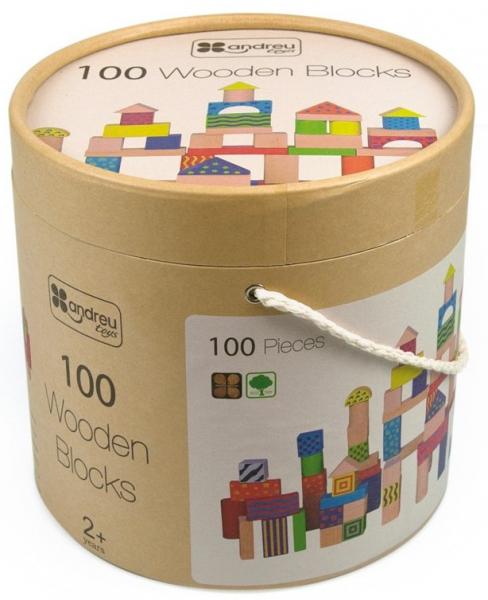 Galetusa cu 100 de cuburi de lemn, multicolore 4