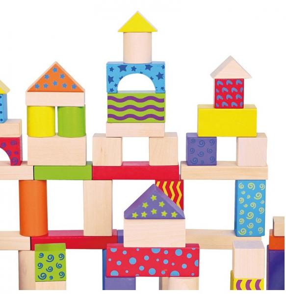 Galetusa cu 100 de cuburi de lemn, multicolore 3