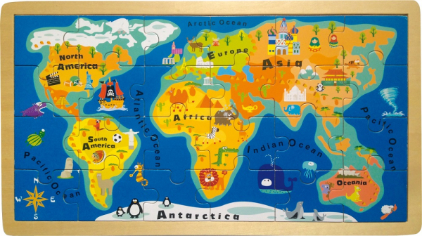 Harta Lumii - puzzle din lemn 24 piese 0