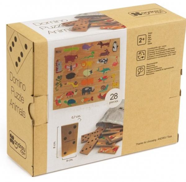 Joc de lemn 2 in 1, puzzle domino cu animale 6
