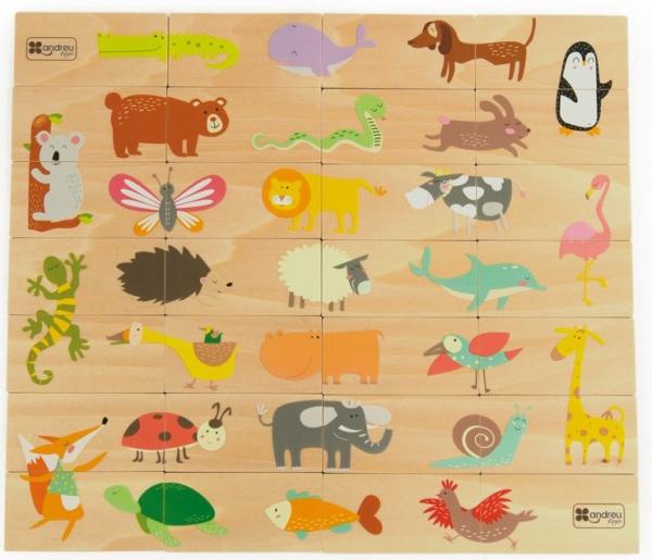 Joc de lemn 2 in 1, puzzle domino cu animale 0