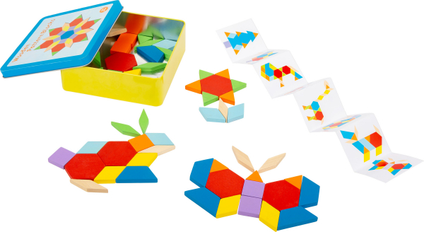 Joc Puzzle Tangram Multicolor din lemn 0