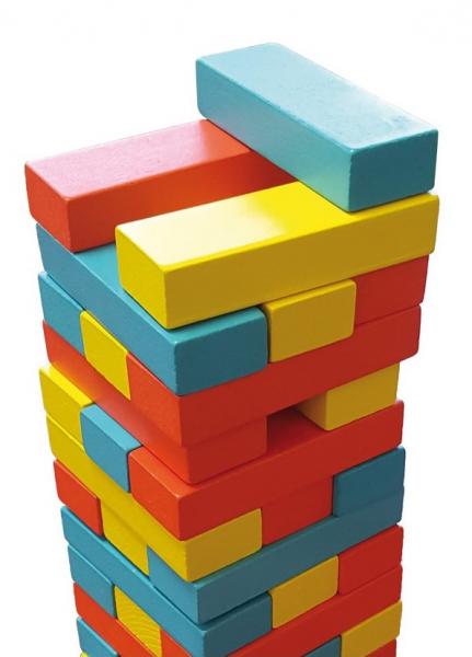 Joc Turnul colorat din lemn cu 48 de piese, Jenga, pentru 2 jucatori 2