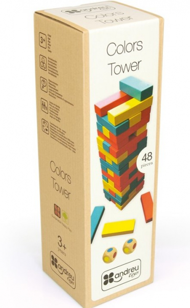 Joc Turnul colorat din lemn cu 48 de piese, Jenga, pentru 2 jucatori 1