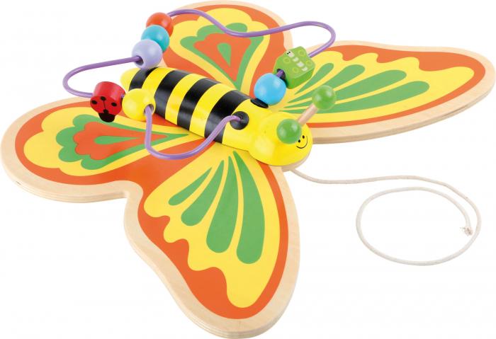 Fluturasul Colorat - Jucarie de tras cu labirint din lemn 0