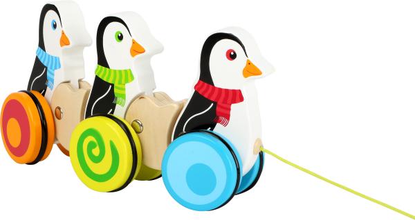 Pinguinii dansatori, jucarie de tras din lemn [2]