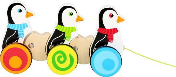 Pinguinii dansatori, jucarie de tras din lemn [1]