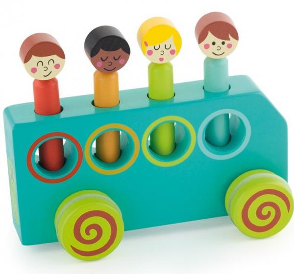 Jucarie din lemn educativa Autobuzul distractiei 0
