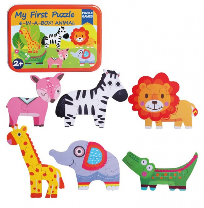 Cutiuta cu 6 puzzle-uri Animale Salbatice [0]