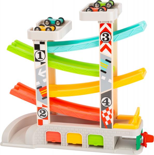 Cursa de masini cu 2 parcari si pista lata multicolora 3