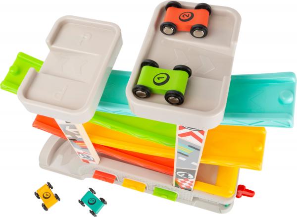 Cursa de masini cu 2 parcari si pista lata multicolora 1