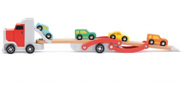 Platforma trailer cu 4 masinute din lemn 1