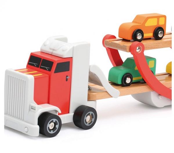 Platforma trailer cu 4 masinute din lemn 2