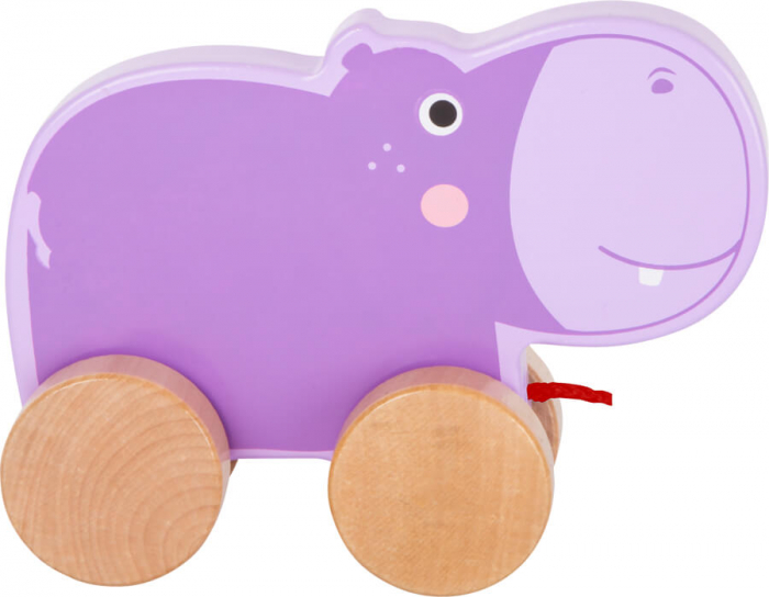Jucarie de tras din lemn Hipopotamul mov [2]