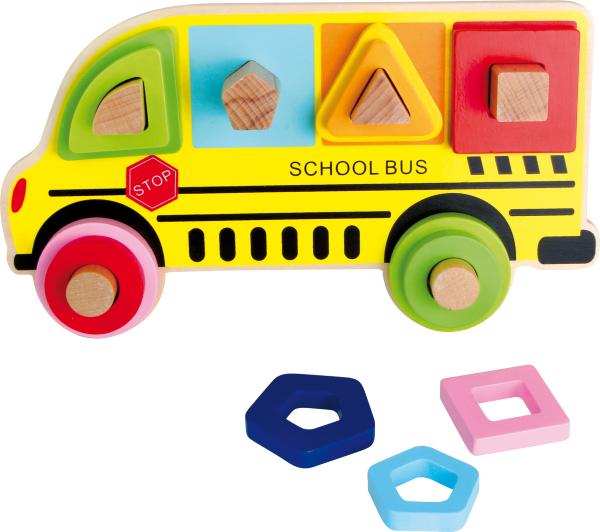 Puzzle cu forme in relief Autobuzul scolar 0