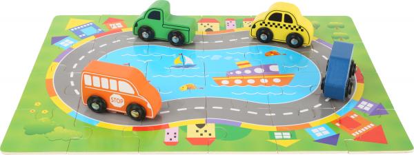 Puzzle Cutia cu traseu si vehicule - din lemn 1