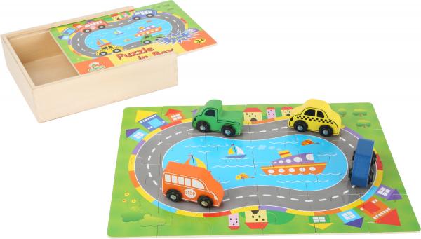 Puzzle Cutia cu traseu si vehicule - din lemn 3