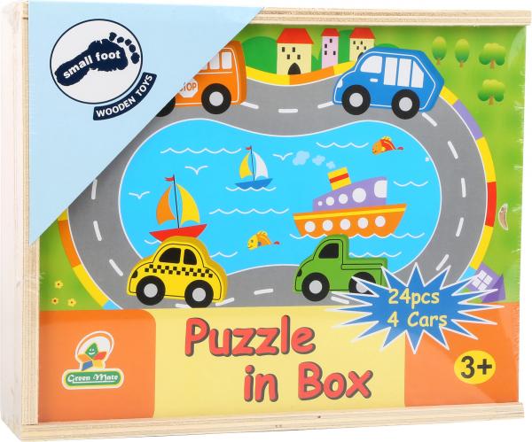 Puzzle Cutia cu traseu si vehicule - din lemn 0