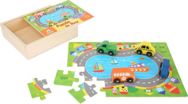 Puzzle Cutia cu traseu si vehicule - din lemn 2
