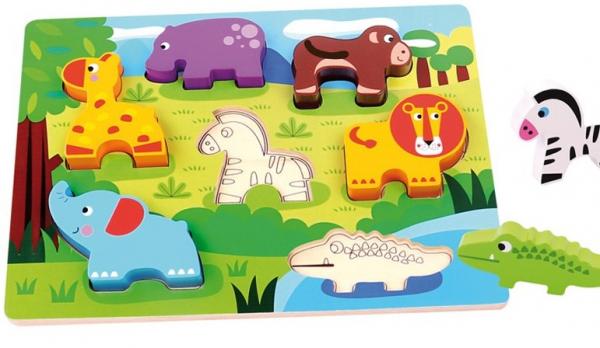 Puzzle cu piese groase Animale salbatice 0