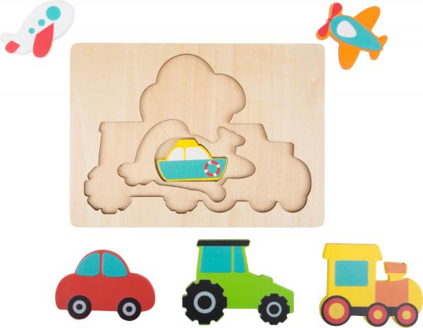 Puzzle in 3 straturi cu vehicule, din lemn 2