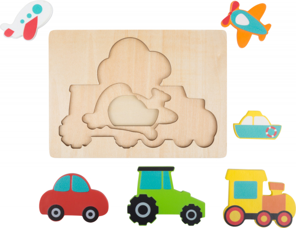 Puzzle in 3 straturi cu vehicule, din lemn 3