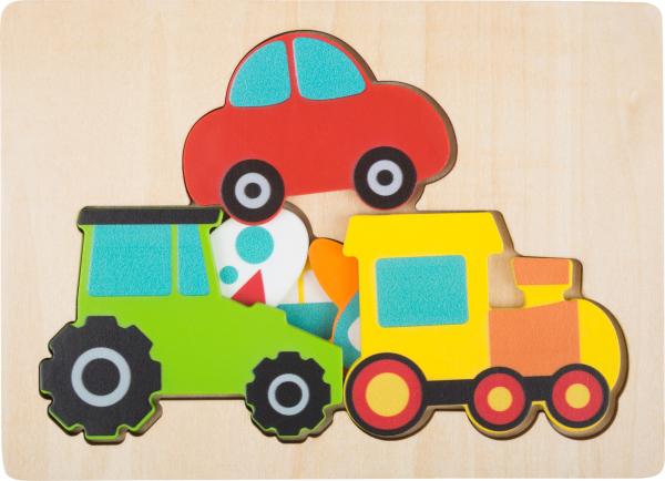 Puzzle in 3 straturi cu vehicule, din lemn 5