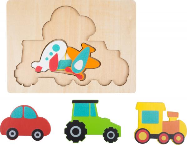 Puzzle in 3 straturi cu vehicule, din lemn 0