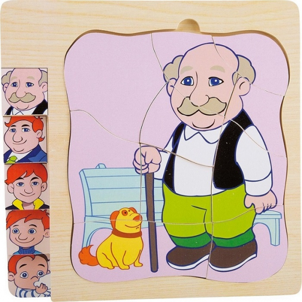 Puzzle in straturi Viata Bunicului (4 in 1) 0