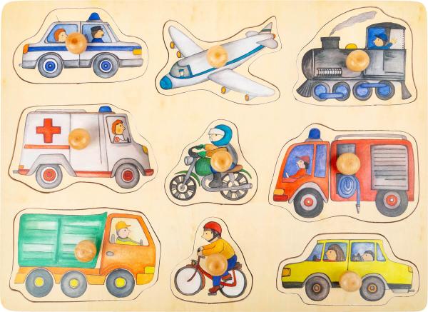 Puzzle 9 Vehicule cu butoane, din lemn 0