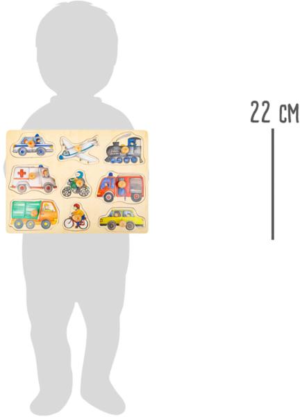 Puzzle 9 Vehicule cu butoane, din lemn 2