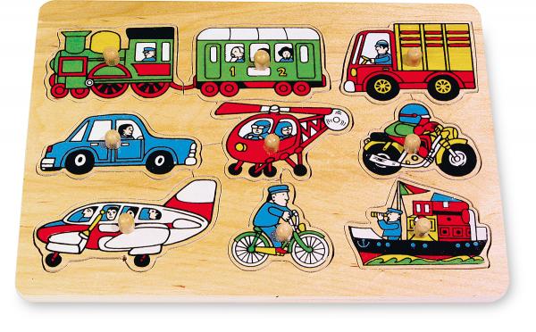 Puzzle Mijloace de transport, 9 piese cu butoane 0