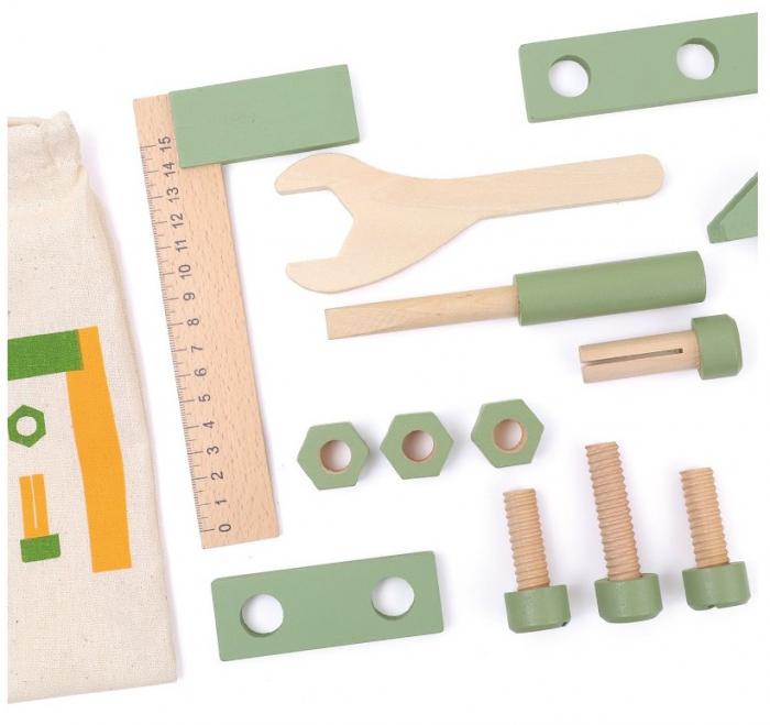 Saculetul cu unelte din lemn in culori pastel [0]