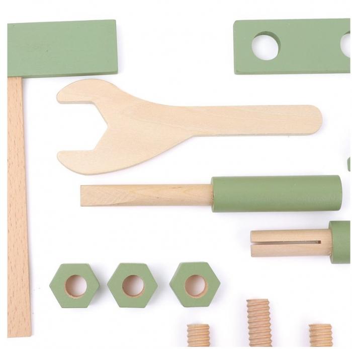 Saculetul cu unelte din lemn in culori pastel 2