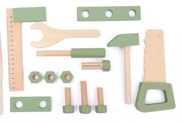 Saculetul cu unelte din lemn in culori pastel 1