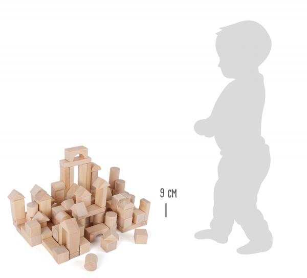 Set 100 cuburi din lemn natur, la saculet 4