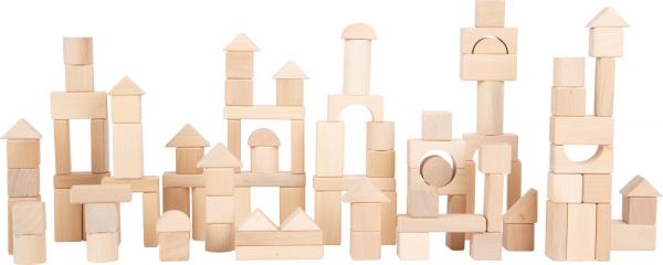 Set 100 cuburi din lemn natur, la saculet 1