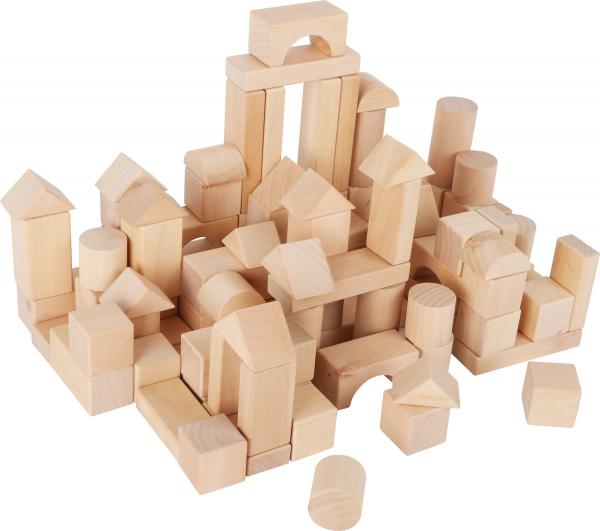Set 100 cuburi din lemn natur, la saculet 0