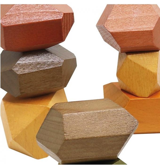 Set XL 12 pietre mari din lemn, joc de stivuit si de echilibru [2]