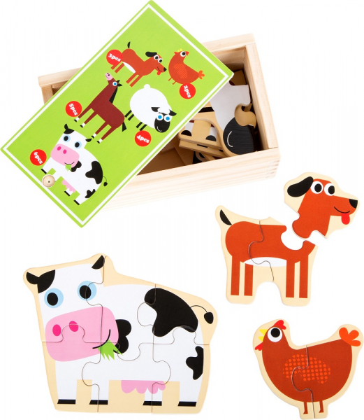 Set 5 puzzle-uri la cutie Prietenii de la ferma 0