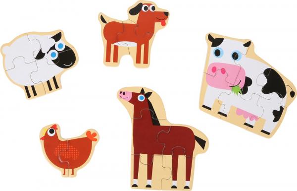 Set 5 puzzle-uri la cutie Prietenii de la ferma 1